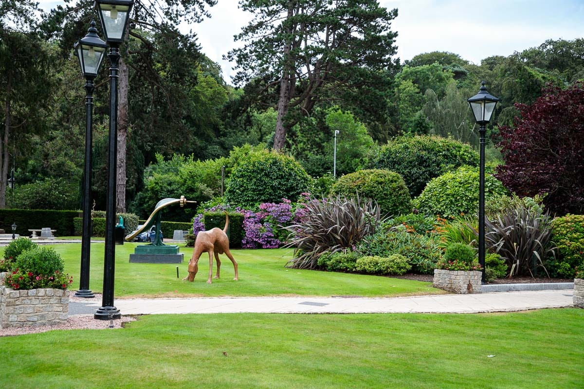 Photo of the grounds around Culloden Estate, including original art sculptures.