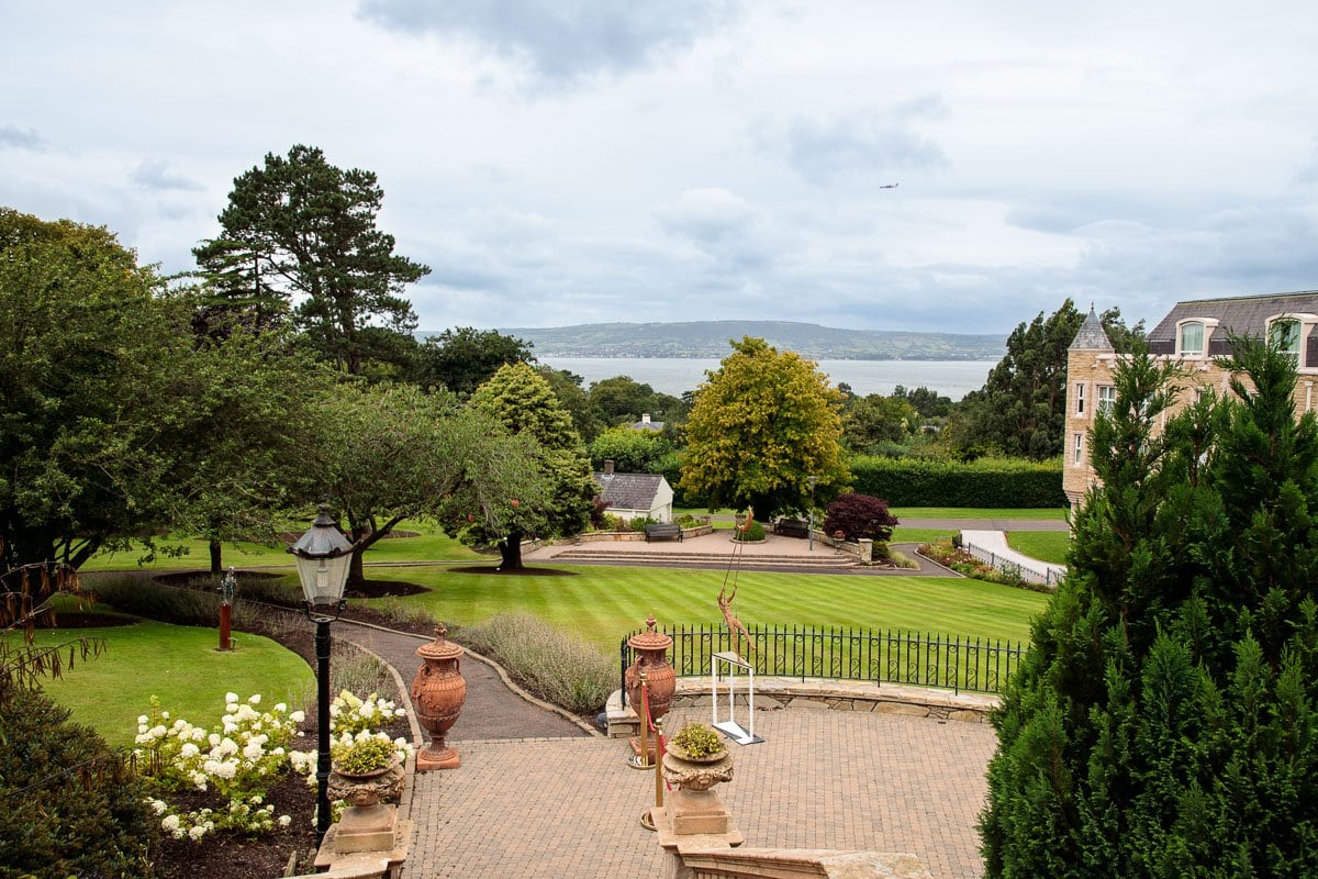 Photo of the back terrace formal gardens at Culloden Estate in Holywood, Northern Ireland.