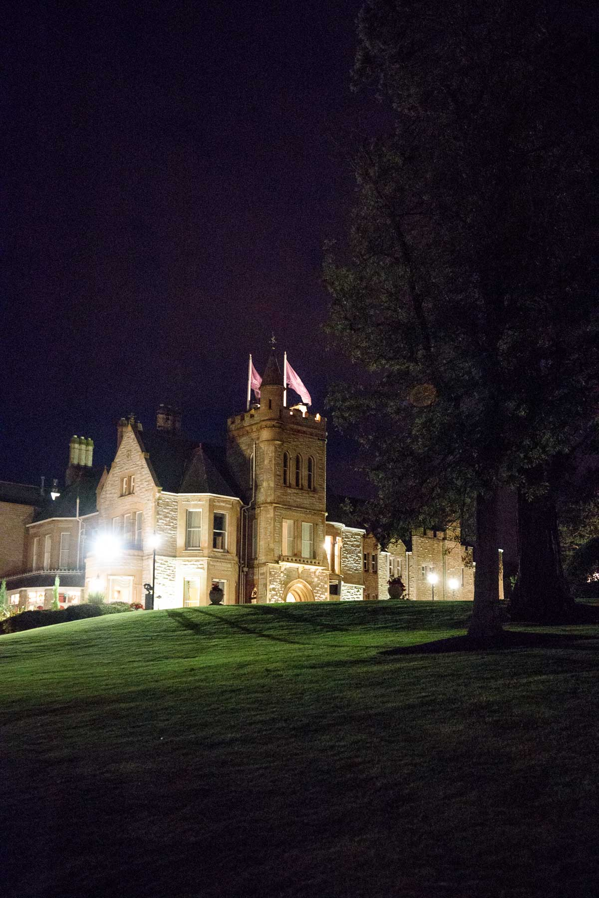 Night time view of Culloden Estate and Spa near Belfast, Northern Ireland.