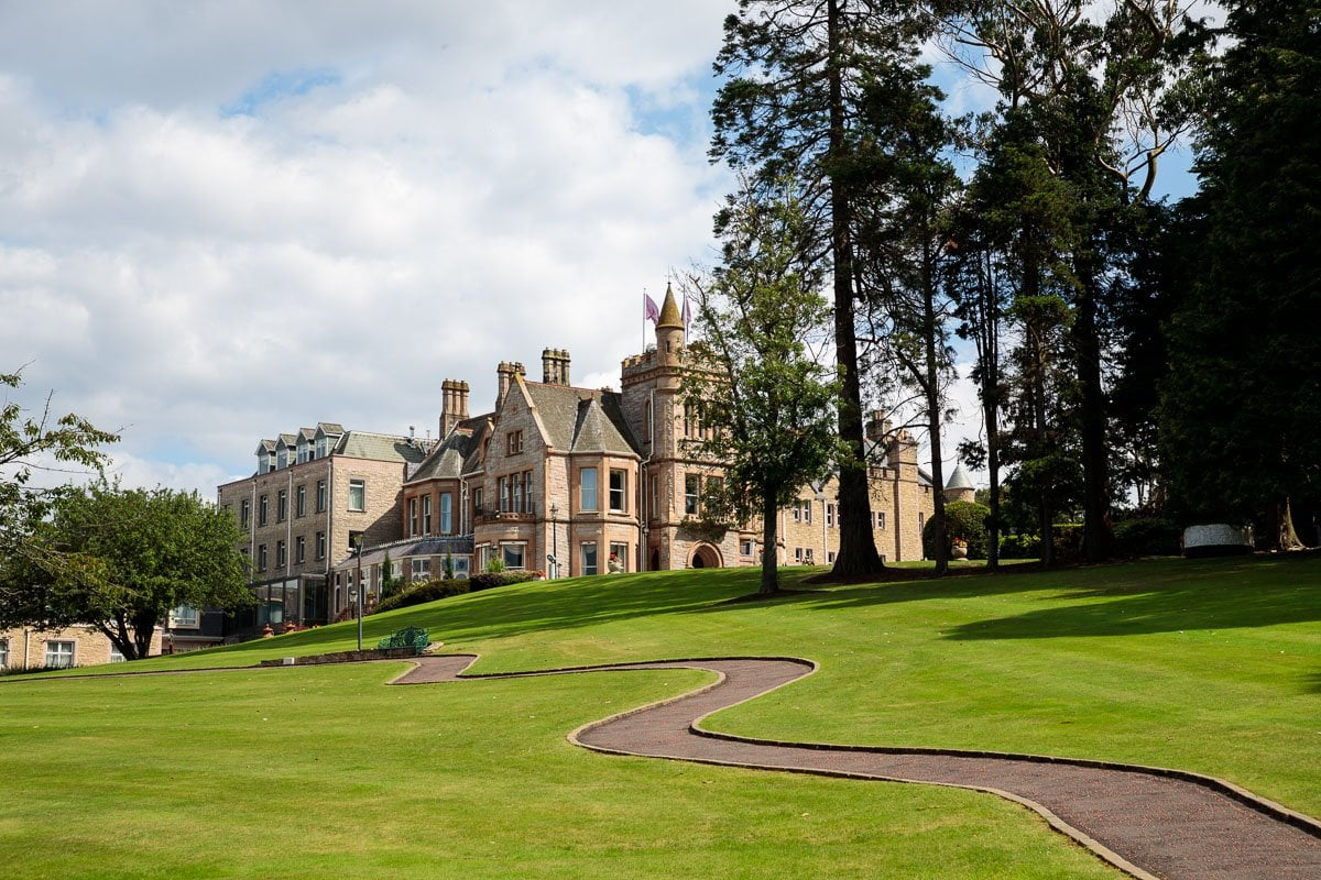 Wide angle photo of Culloden Estate and Spa near Belfast, Northern Ireland.