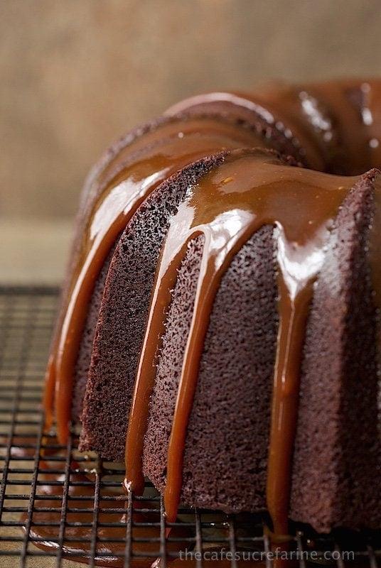 Close up photo of Irish Chocolate Bundt Cake with Caramel Glaze on a cooling rack