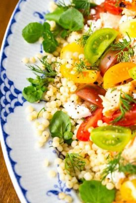 Israeli Couscous Salmon Salad with Lemon Dill Dressing