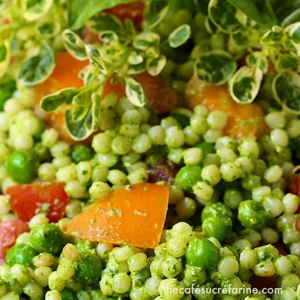 Extreme closeup photo of Israeli Couscous Salad with Heirloom Tomatoes.