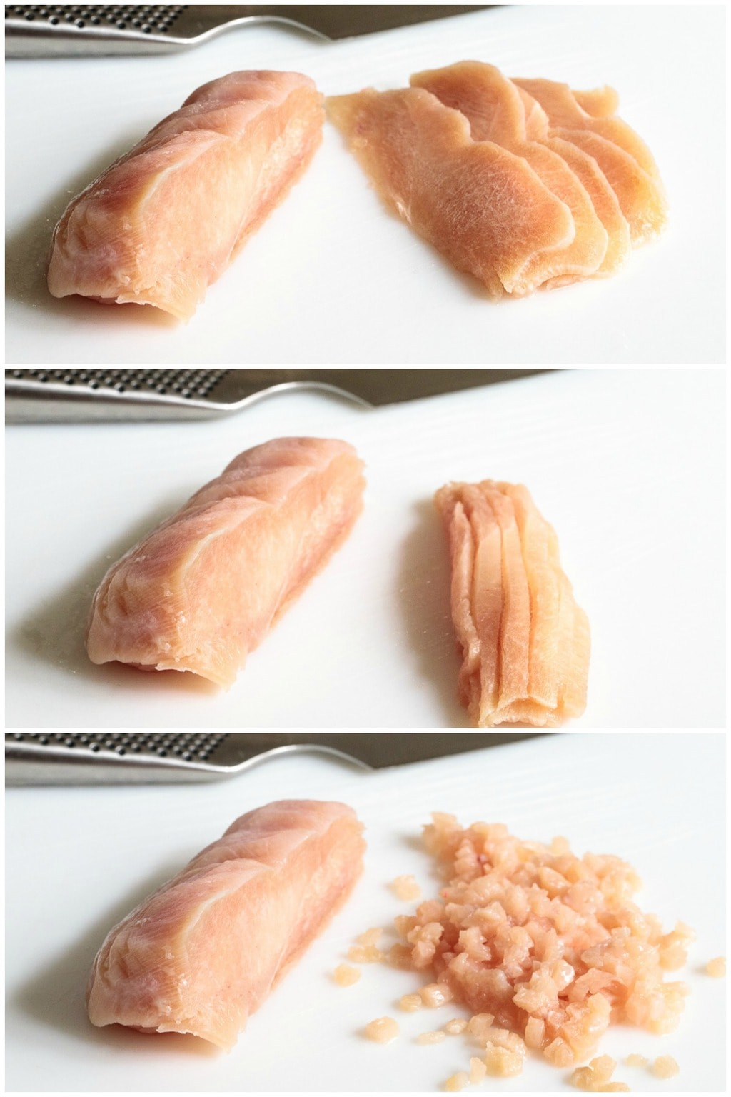 Collage of photos demonstrating how to cut chicken in preparation for making Italian Chicken Meatballs and Marinara.