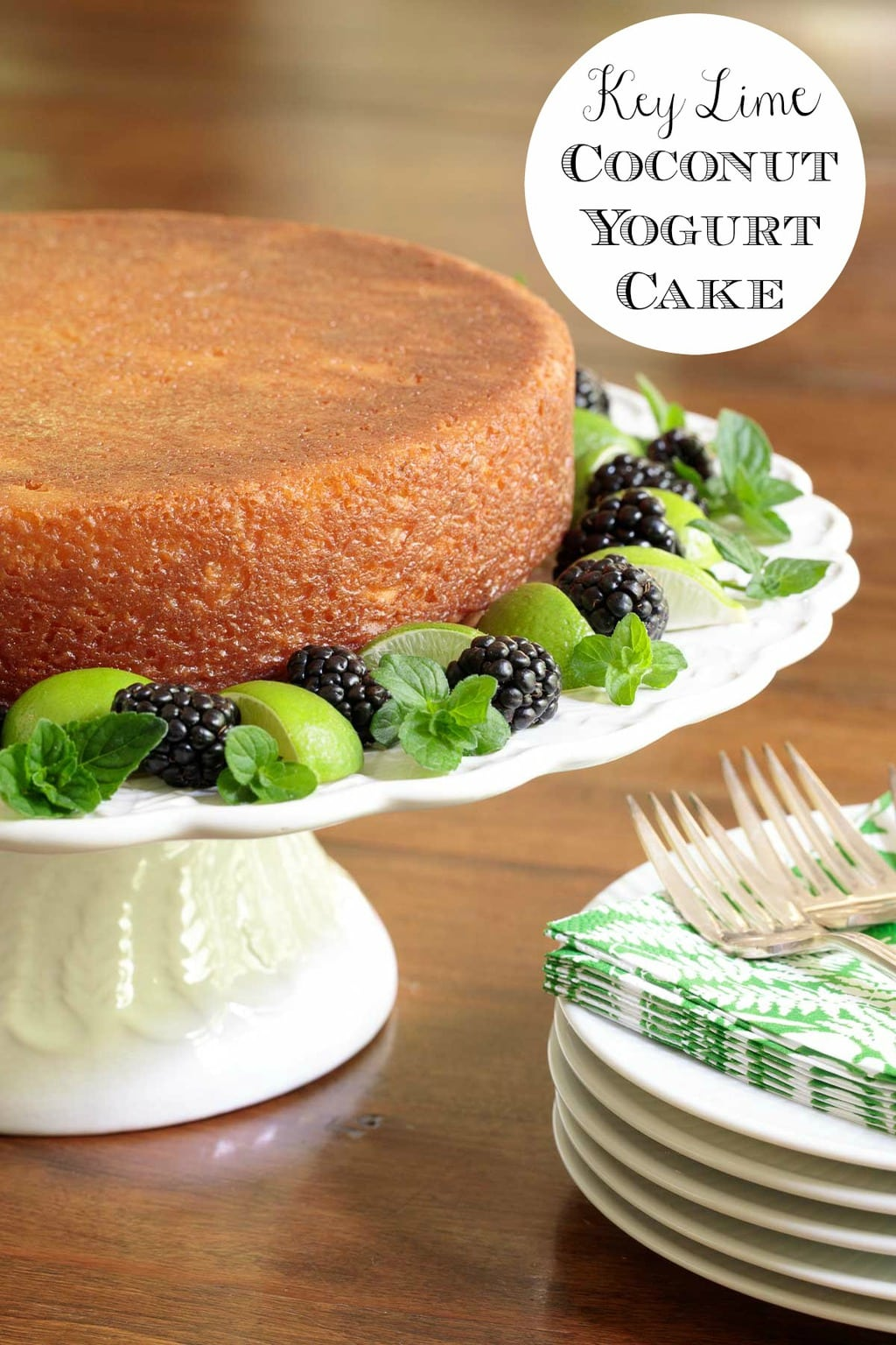 Super moist with a tender crumb this one-bowl, no-mixer Key Lime Coconut Cake has a crisp candy-like lime glaze that\'s brushed on after it\'s baked. #yogurtcake, #keylimecake, #onebowlcake, #nomixercake, #easydessert