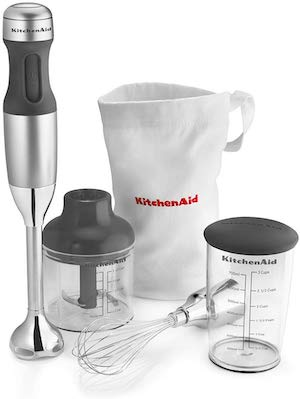 Stock photo of a KitchenAid stick immersion blender.