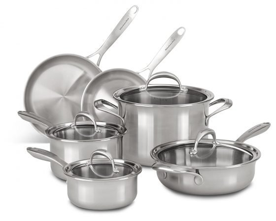Stock shot of a complete set of KitchenAid stainless steel pots and pans.