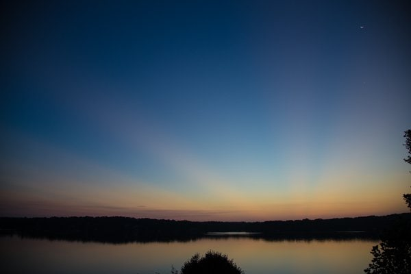 Horizontal image of a beautiful sunrise over Lake Gaston, NC.