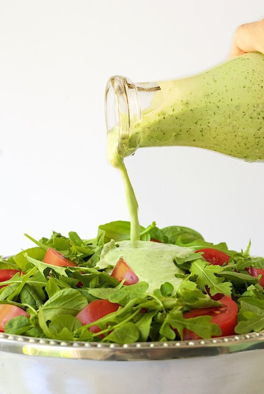 Lemon Basil Buttermilk Dressing - a thousand times better than boring ranch, this dressing is the perfect way to add pizzazz to salads. It's also great drizzled on chicken, fish, shrimp, etc and great on baked potatoes, french fries, veggies- anything! thecafesucrefarine.com