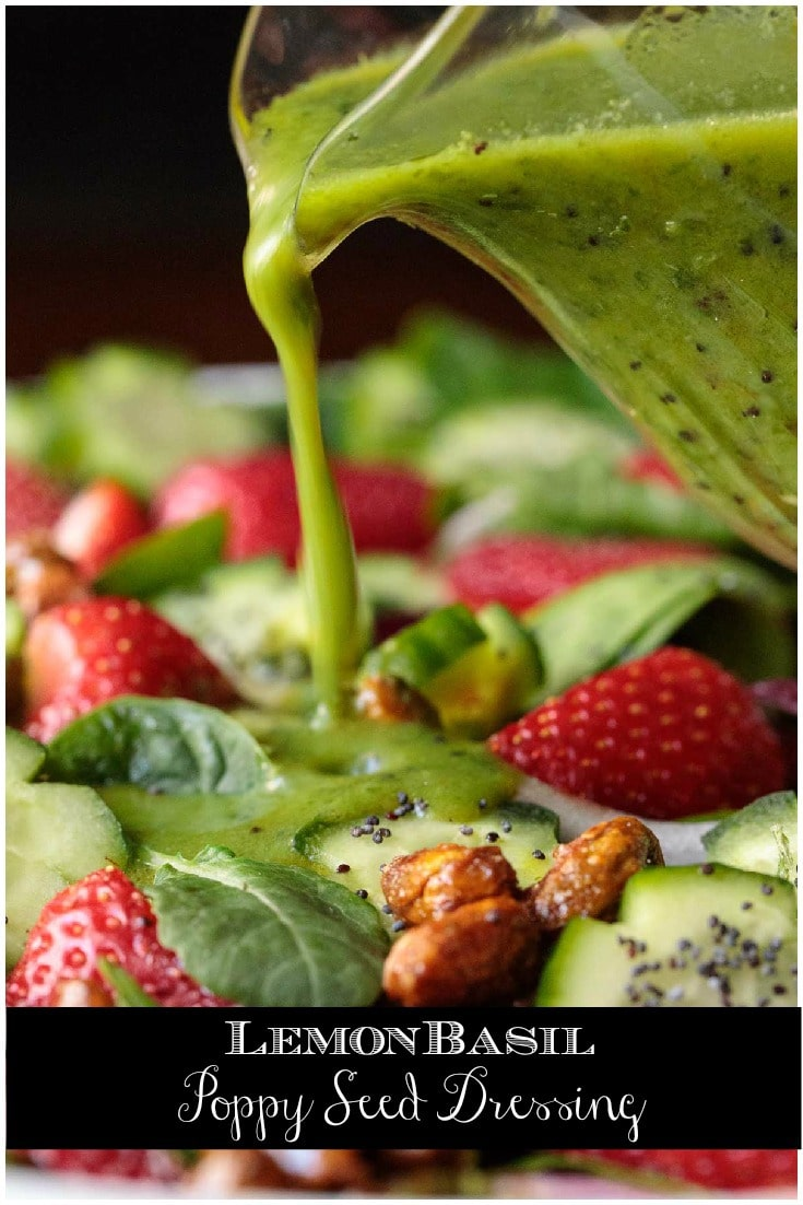 This beautiful, emerald-hued dressing is bursting with vibrant flavor. It's fabulous drizzled over salads, entrees and veggies! #saladdressing #basilsaladdresing #deliciousdressing #easysaladdressing #whattodowithbasil #toomuchbasil #delicioussalads #summersaladdresing #summersalad