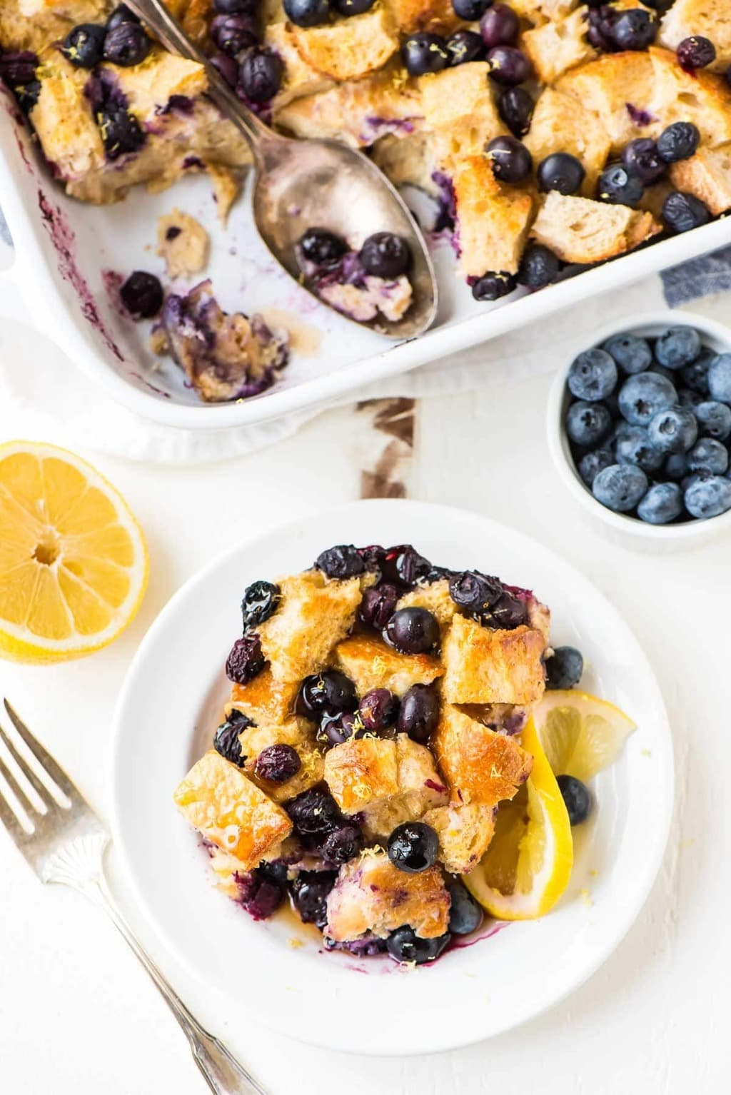 Overhead photo of Overnight Lemon Blueberry French Toast Casserole from the Well Plated food blog.