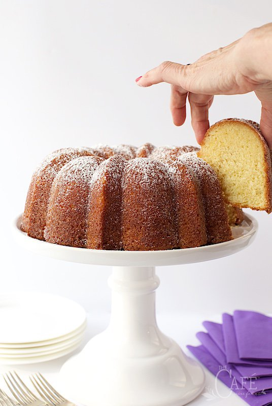Lemon Buttermilk Pound Cake- with a simple lemon glaze that's brushed on while the cake's still warm, this is the perfect cake when you need a moist, buttery, delicious and super easy dessert.  thecafesucrefarine.com