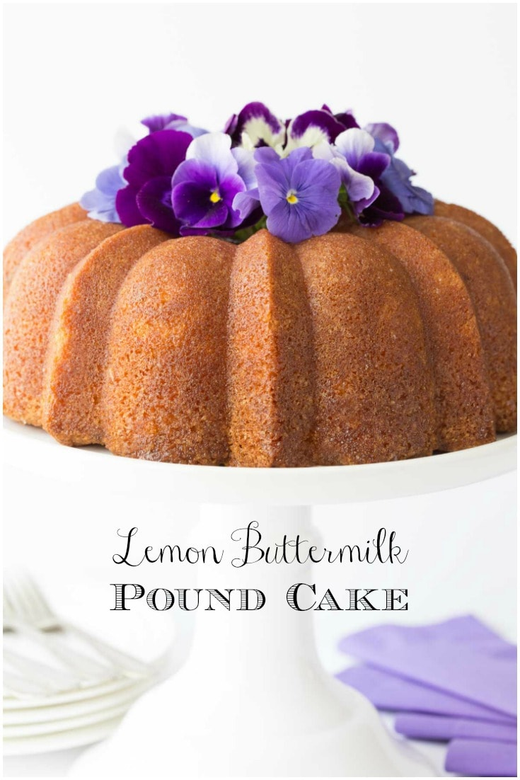 Lemon Buttermilk Pound Cake is the answer when you need a moist, buttery, delicious and easy dessert - in a hurry! #poundcake, #lemonpoundcake, #buttermilkpoundcake, #easypoundcake #howtodecorateapoundcake