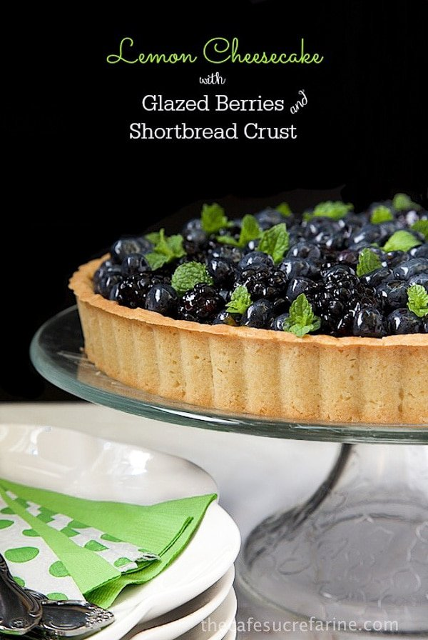 With a make-ahead, no-bake filling, a marmalade-glazed, fresh fruit topping and a delicious shortbread crust, this Lemon Cheesecake universally loved!#lemoncheesecake #berrycheesecake #easterdessert #easydesserts