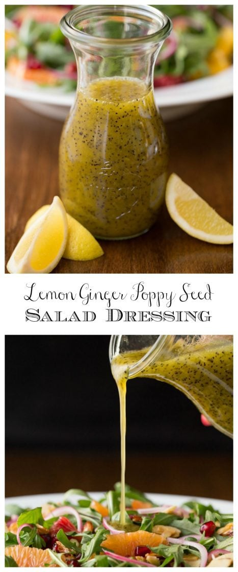 A vertical collage of photos of Lemon Ginger Salad Dressing in a glass carafe with graphics in the middle of the collage.
