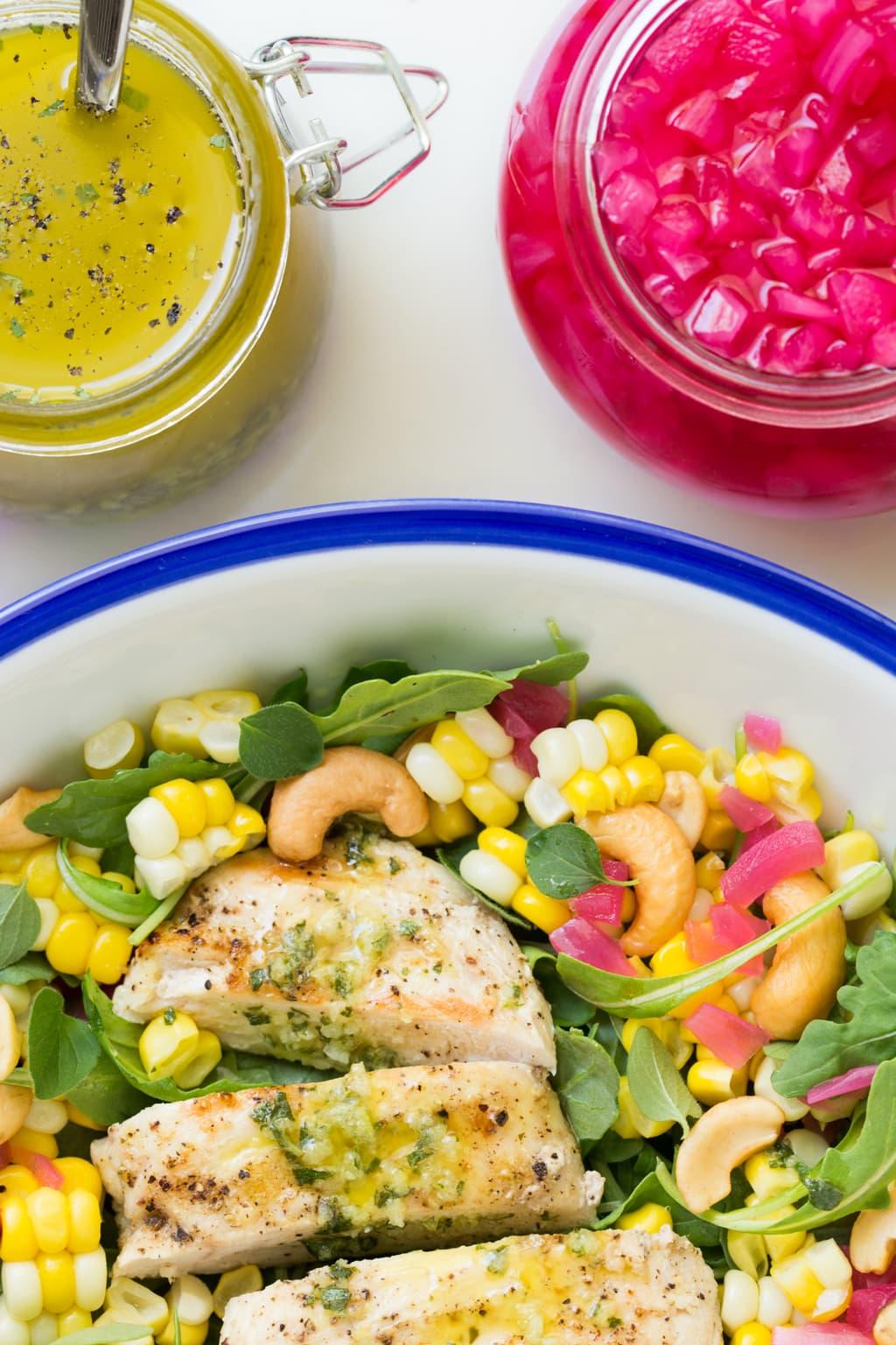 Overhead closeup picture of Lemon Oregano Chicken and Corn Salad