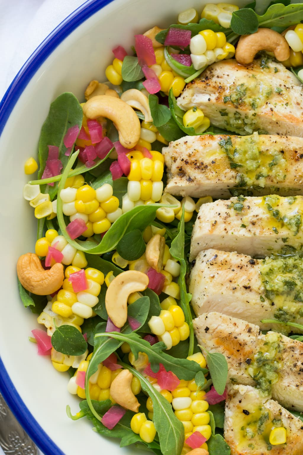 Close up picture of Lemon Oregano Chicken and Corn Salad