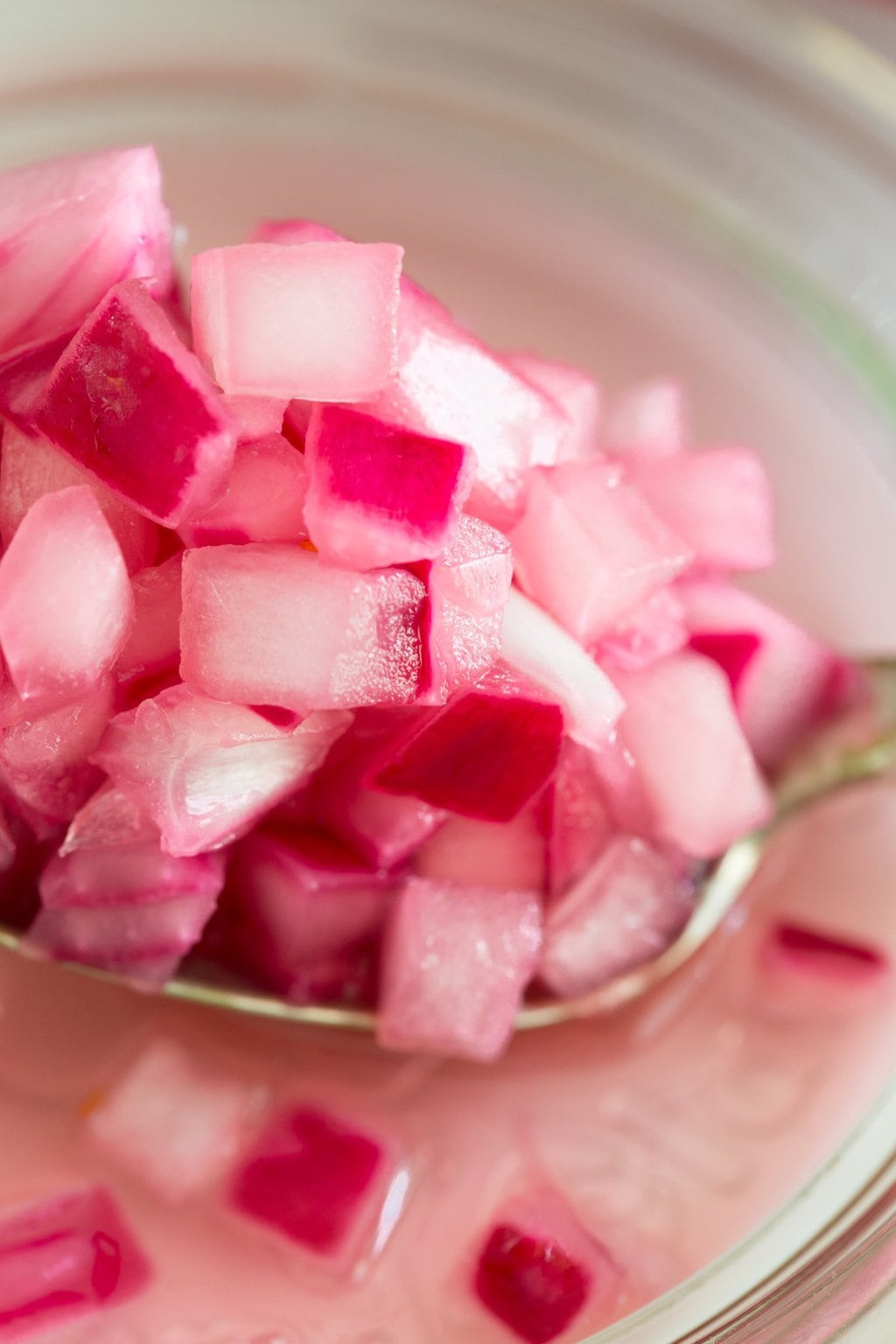 Lemon Pickled Red Onions - a beautiful and delicious condiment that takes less than 10 minutes to make. Perfect for sandwiches, salads, pizzas... anything! thecafesucrefarine.com