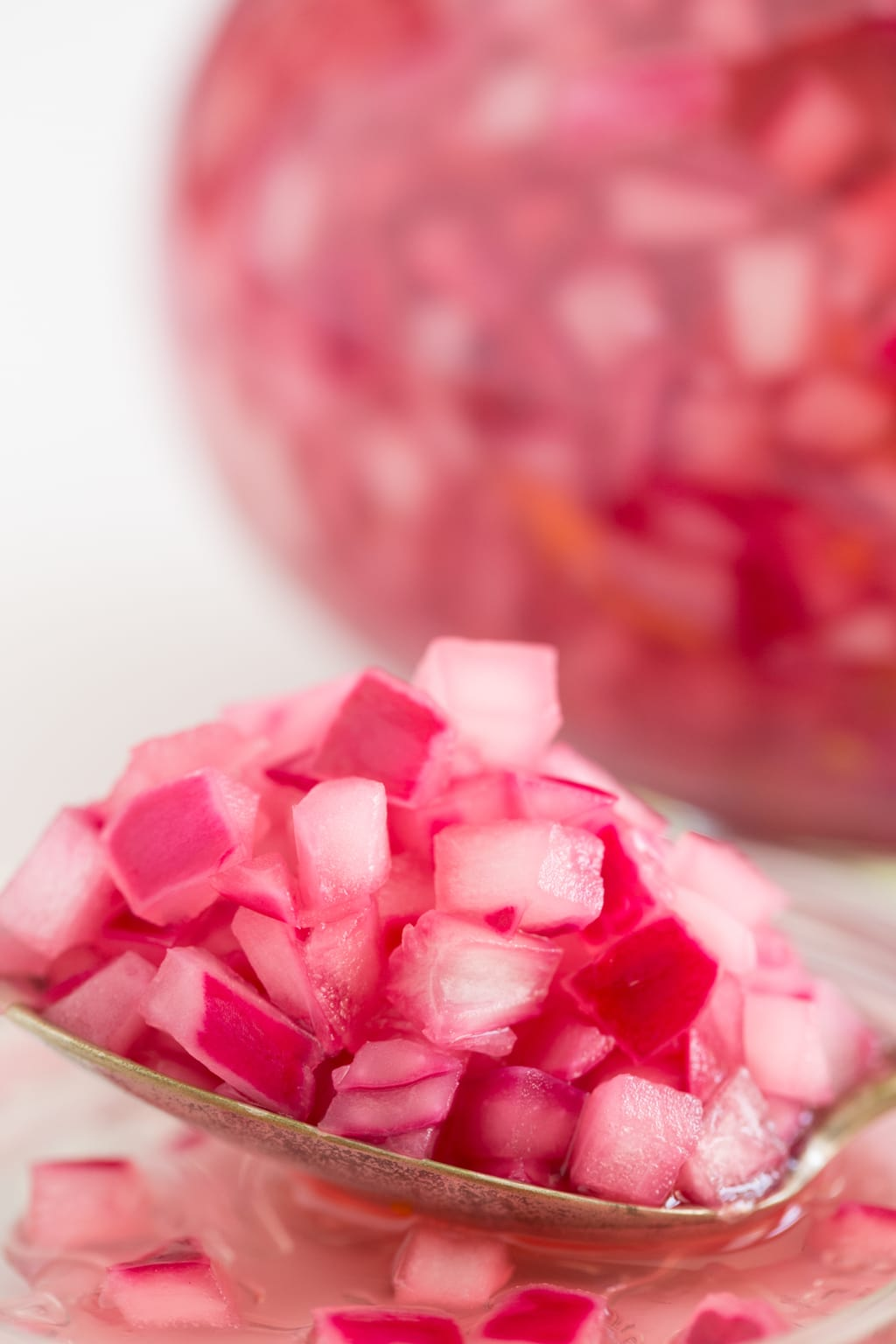 Closeup picture of pickled red onions