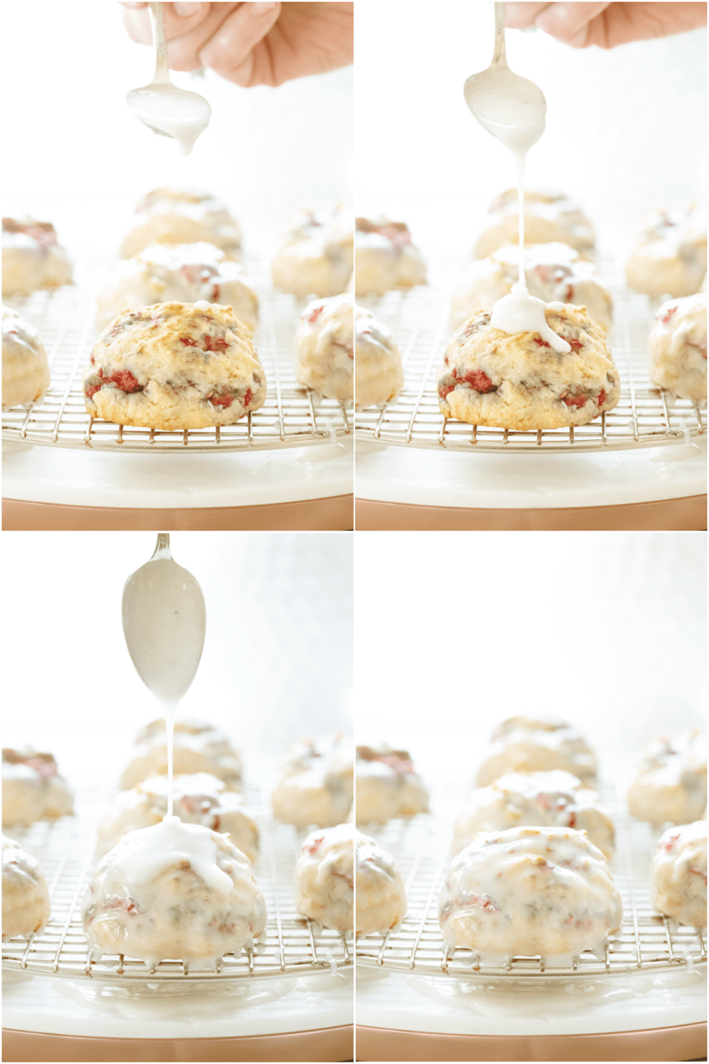 Vertical 4-photo collage of pouring the glaze on top of a batch of Ridiculously Easy Lemon Raspberry Scones on a cooling rack.