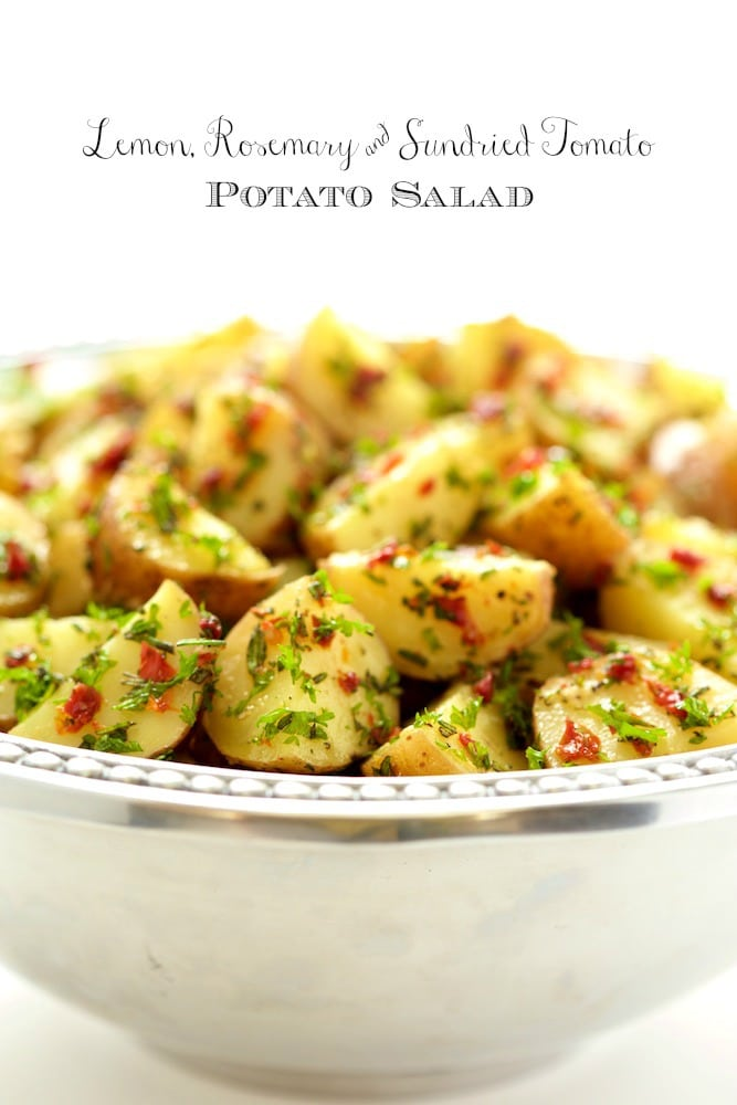 Lemon Rosemary and Sun-dried Tomato Potato Salad - a simple, delicious, no Mayo potato salad that everyone loves! thecafesucrefarine.com