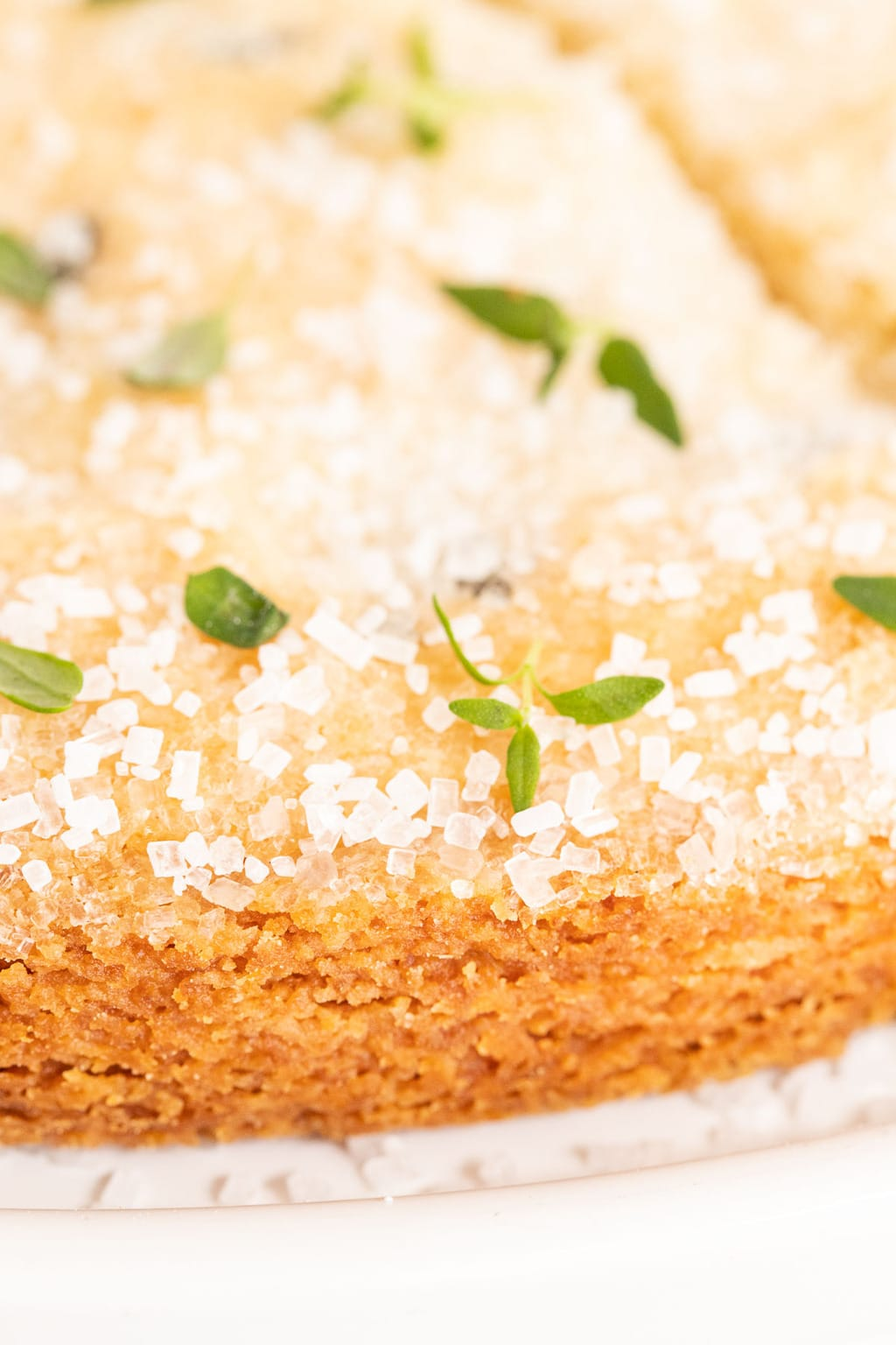 Vertical ultra closeup of the edge and top of a piece of Lemon Thyme Shortbread garnished with fresh thyme leaves.