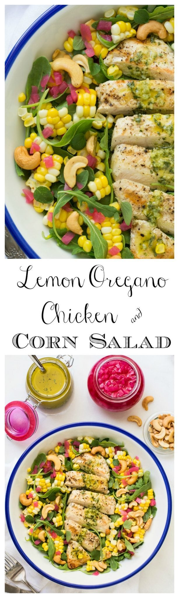 Lemon Oregano Chicken and Corn Salad - a delicious, vibrant, healthy salad that's loaded with fresh flavor and works well in any season!