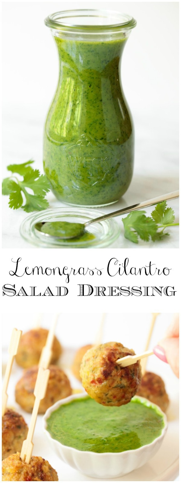 Fresh and vibrant this Lemongrass Cilantro Salad Dressing is delicious on salads, grilled chicken, shrimp, salmon, pork and so much else! #saladdressing, #cilantrodressing, #cilantrosauce, #saladlove, #freshanddelicious, #easysaladdressing,