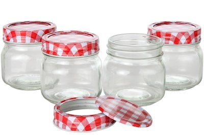 Stock shot of a Lilly's Home Classics canning jar.