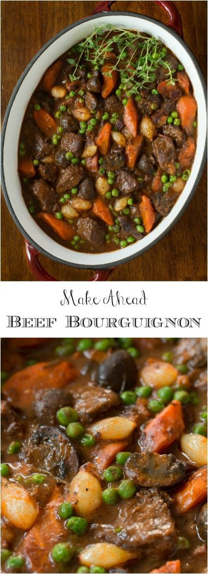Make Ahead Beef Bourguignon - this French classic is not only crazy delicious with melt-in-your-mouth tender beef, it's also an inexpensive, economical way to feed a crowd. Another plus is that all the work can be done in advance!