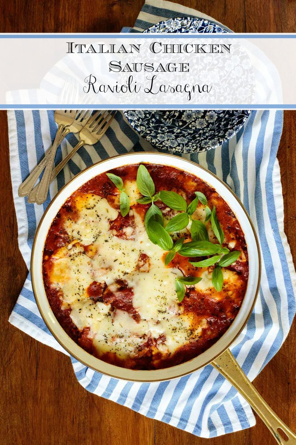 This make-ahead Italian Chicken Sausage Ravioli Lasagna is bursting with fabulous Italian flavor and tastes like you labored for hours. No one has to know the delicious little secret. #raviolilasagna, #easylasagna, #makeaheadlasgna, #chickensausagelasagna