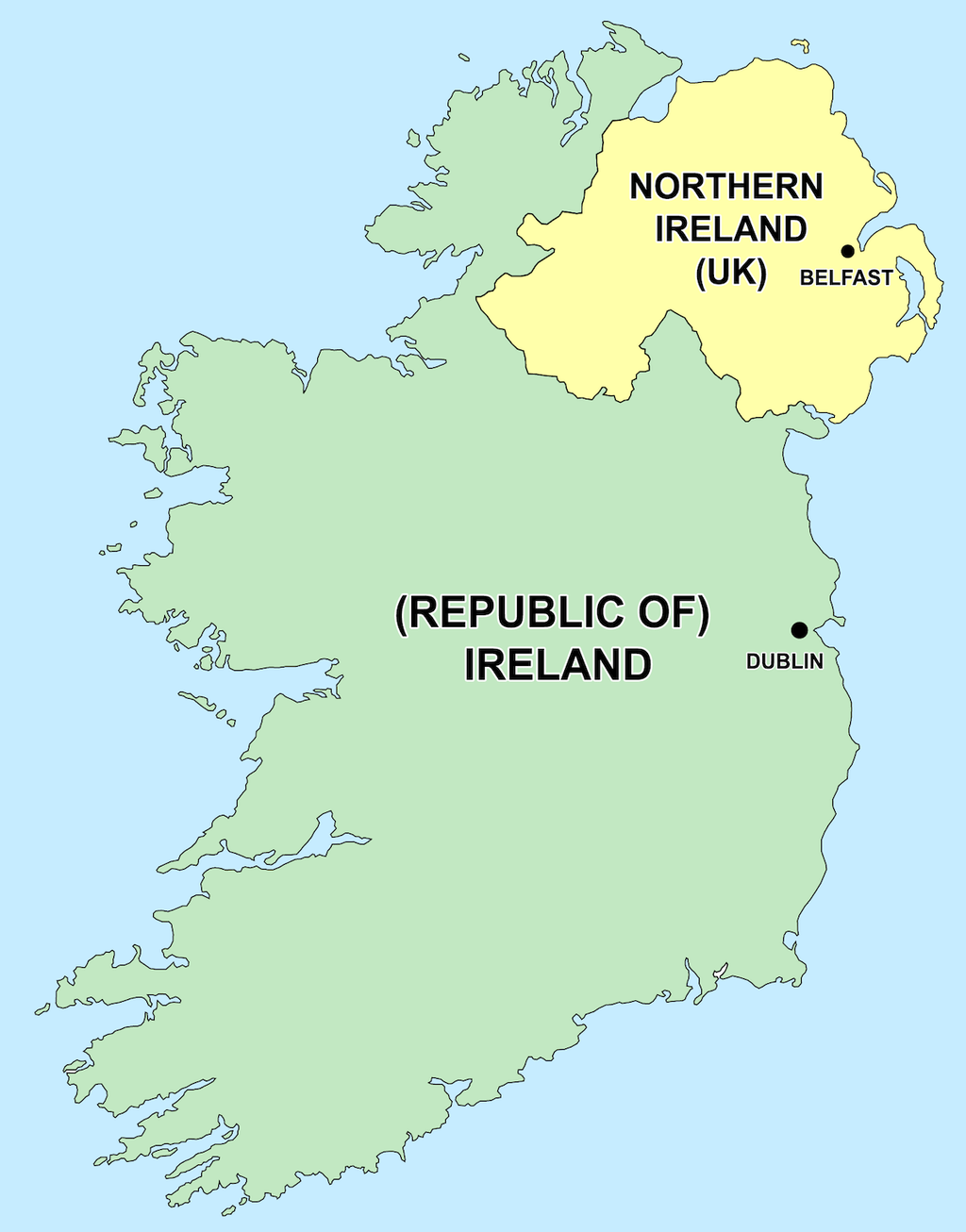 Stock photo of the Republic of Ireland and Northern Ireland.
