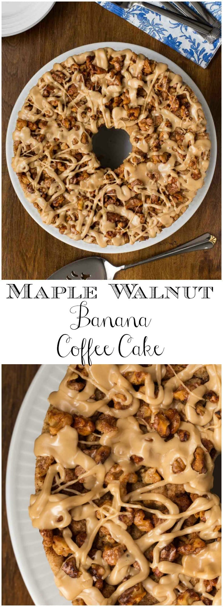 This Maple Walnut Banana Coffee Cake will be the shining star of any breakfast or brunch buffet and comes together easily, without pulling out the mixer!