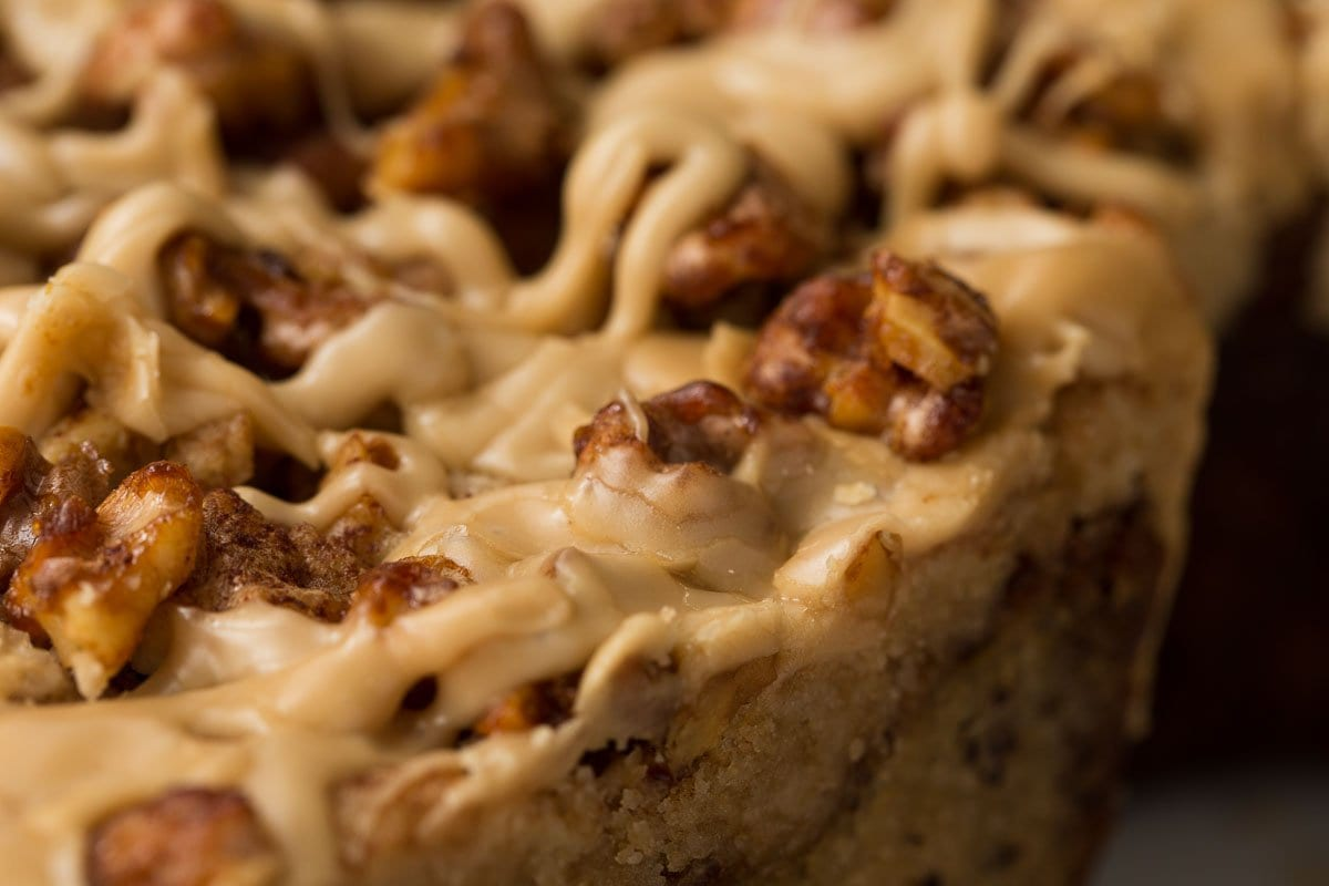 Ultra closeup photo of the crumb top of a Maple Walnut Banana Coffee Cake.