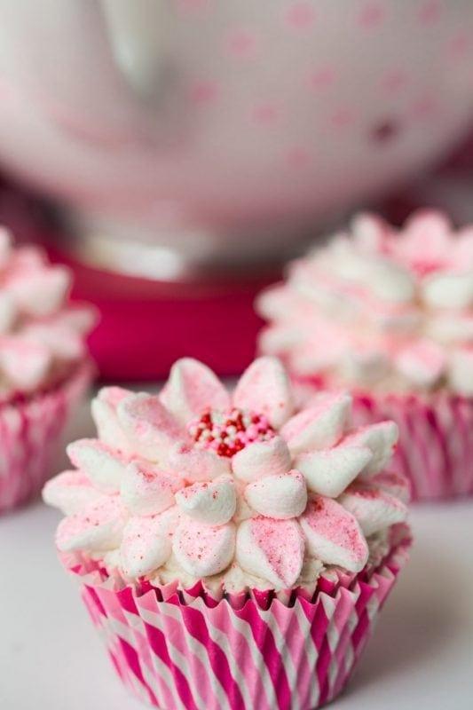 Festive, Fun Poinsettia Cupcakes