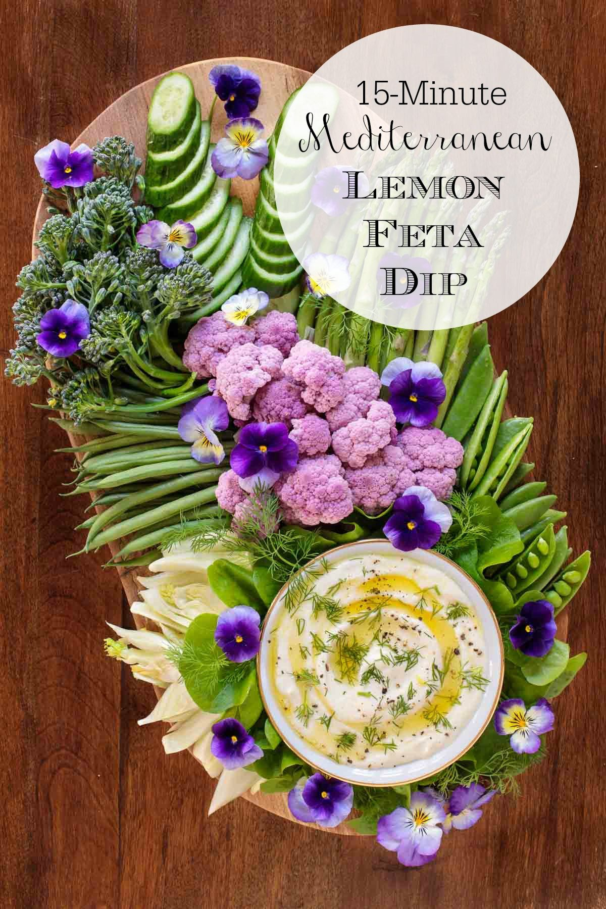 This creamy, lemony Feta dip is perfect for parties, picnics and potlucks. Serve it with raw veggies or chips for a delicious appetizer or snack! #fetadip, #whippedfetadip, #easyveggiedip, #creamydip, #healthydip