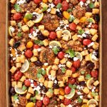 Overhead picture of mediterranean sheet pan chicken