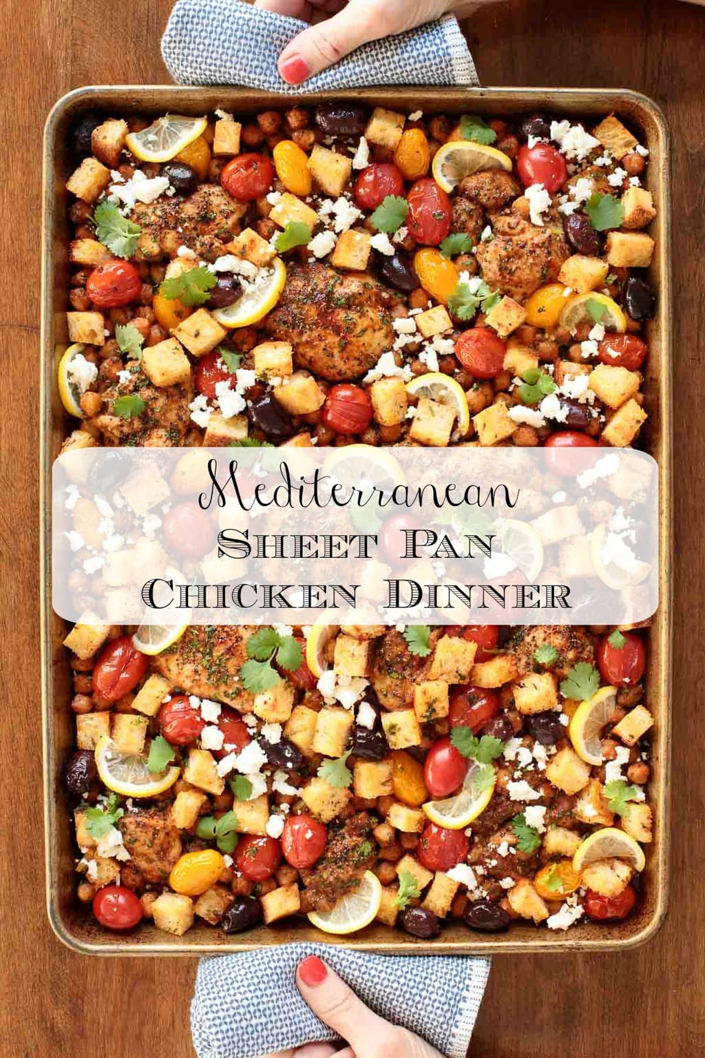 This Mediterranean Sheet Pan Chicken is a super easy meal that\'s perfect for busy weeknights but delicious and pretty enough to serve for a dinner party! #sheetpandinner, #chickensheetpandinner, #easychickendinner, #roastedchickendinner