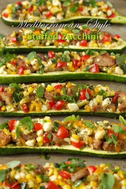 Photo of horizontal rows of Mediterranean Style Stuffed Zucchini with a graphic at the top of the photo