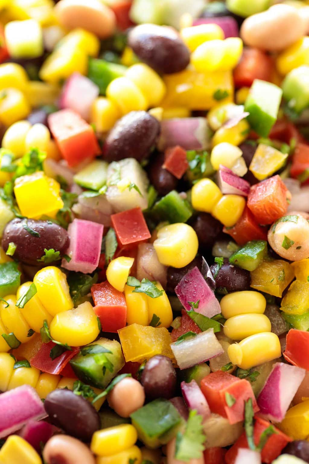 Ultra closeup of Mexican Corn and Bean Salad showing just the salad.