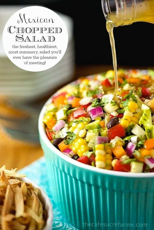 This Mexican Chopped Salad might just bethe freshest, healthiest, most delicious salad you\'ll ever have the pleasure of meeting! It always gets rave reviews! #mexicansalad, #healthysalad, #cornsalad, #vegetablesalad