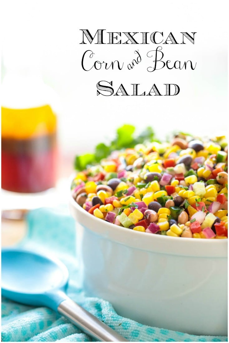 This Mexican Corn and Bean Salad is wonderful for potlucks, with chips and makes a fabulous side for sandwiches and grilled entreés. #mexicanrecipe #mexicanchopped salad #mexicansalad #salad #beansalad #easysalad #saladforacrowd #freshsalad #choppedsalad