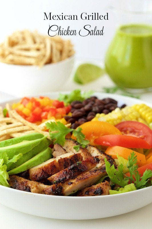 Mexican Grilled Chicken Salad - this fresh salad bursting with south-of -the-border flavor is a great way to keep meals healthy and delicious! thecafesucrefarine.com