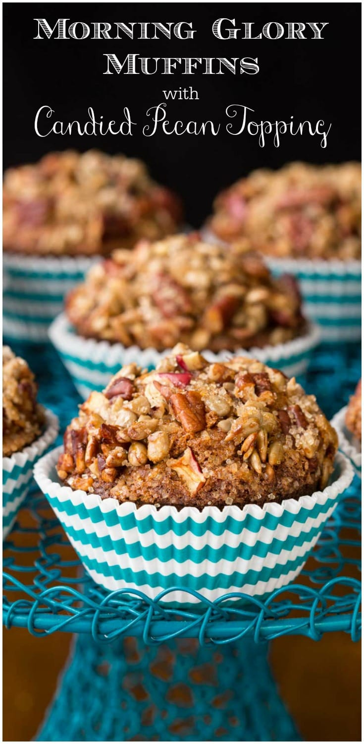 These rustically beautiful Morning Glory Muffins are moist and super delicious. They're also loaded with fiber and lots of great nutrition!