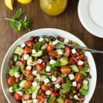Tomato Cucumber Salad with Crispy Chickpeas
