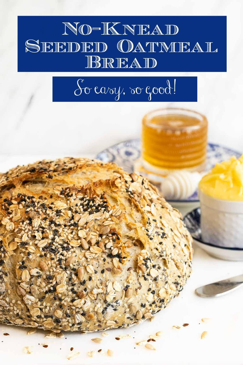 No-Knead Seeded Oatmeal Bread