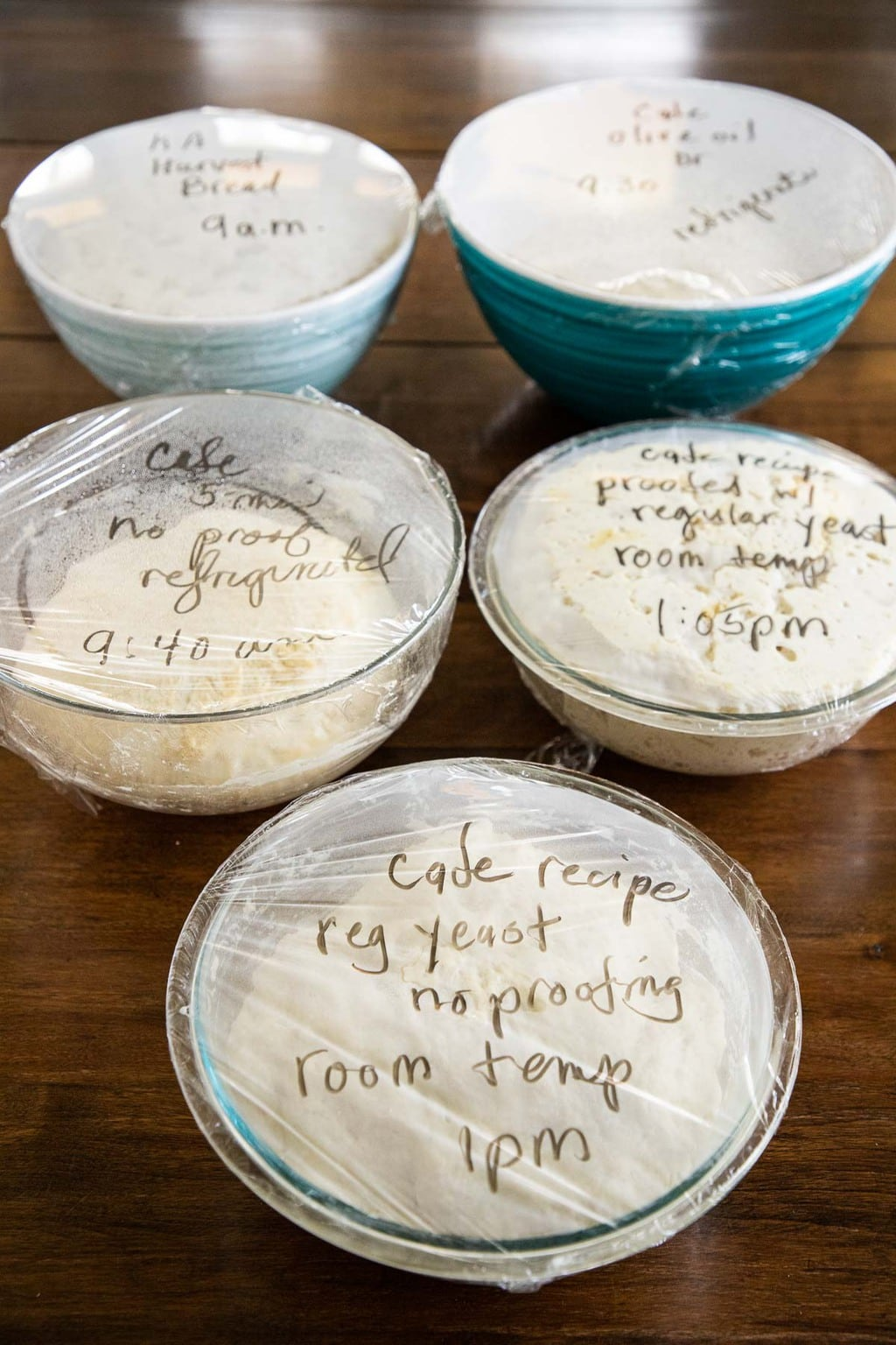 Vertical photo of various glass bowls filled with test dough for making No-Knead Seeded Oatmeal Bread.