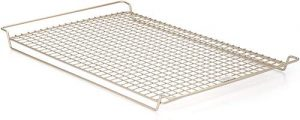 Stock photo of an Oxo cooling rack that fits into a standard half size baking pan.