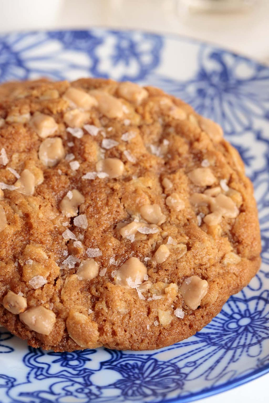 Ultra closeup photo of a Toffee Oatmeal Peanut Butter Cookie on a blue and white patterned plate.