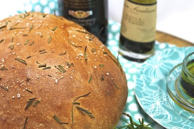 Olive Oil and Rosemary Artisan Bread. European Style Bread with fresh rosemary. Perfect for sandwiches, in the bread basket, with salads and soups Also great for dipping in olive oil.